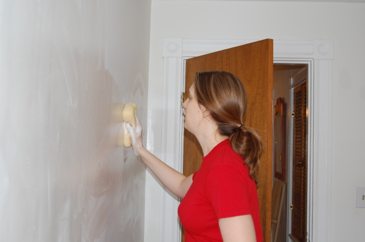 Moriah and I had to finish washing the walls in one of the side bedrooms.